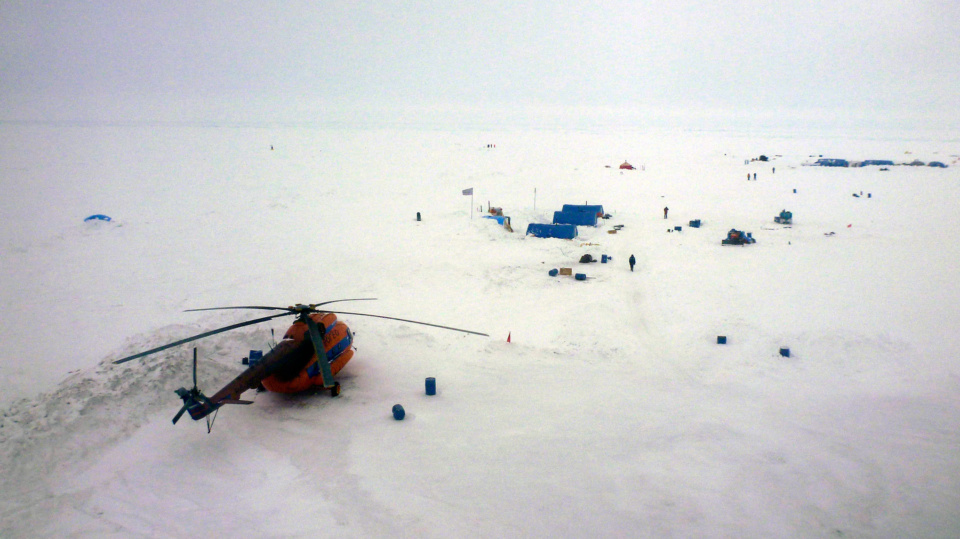 Barneo Ice Camp Aerial Helicopter