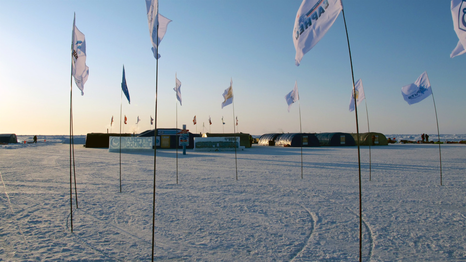 Barneo Station Flags Arctic Ocean