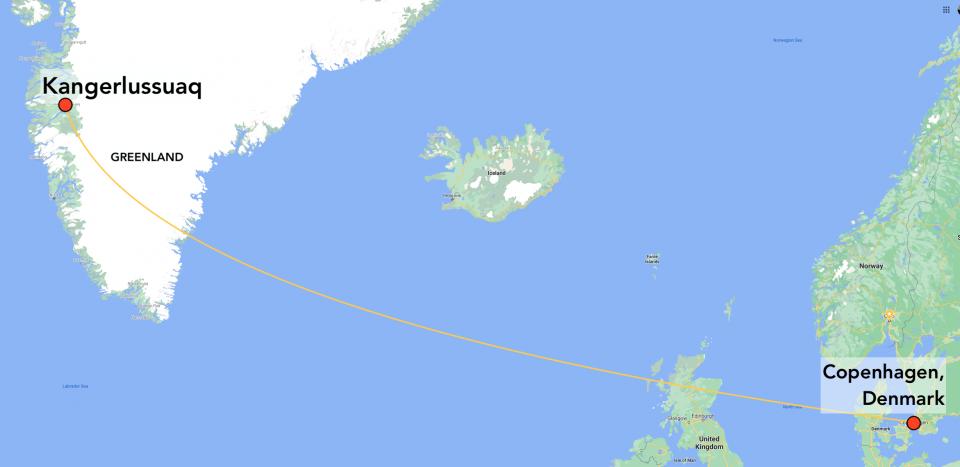 Copenhagen to Kangerlussuaq