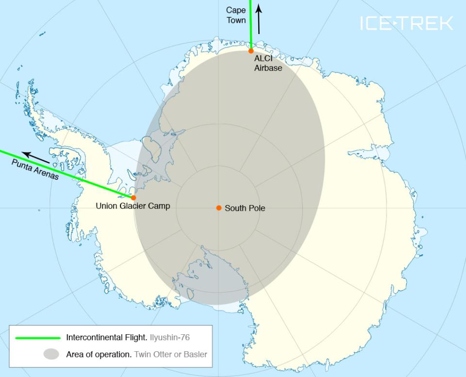 Icetrek South Pole Map Custom